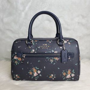 COACH ROWAN SATCHEL WITH ROSE BOUQUET PRINT